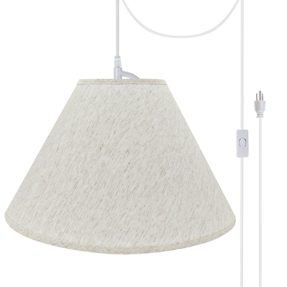 # 72772-21 Two-Light Plug-In Swag Pendant Light Conversion Kit with Transitional Hardback Empire Fabric Lamp Shade, Beige, 18