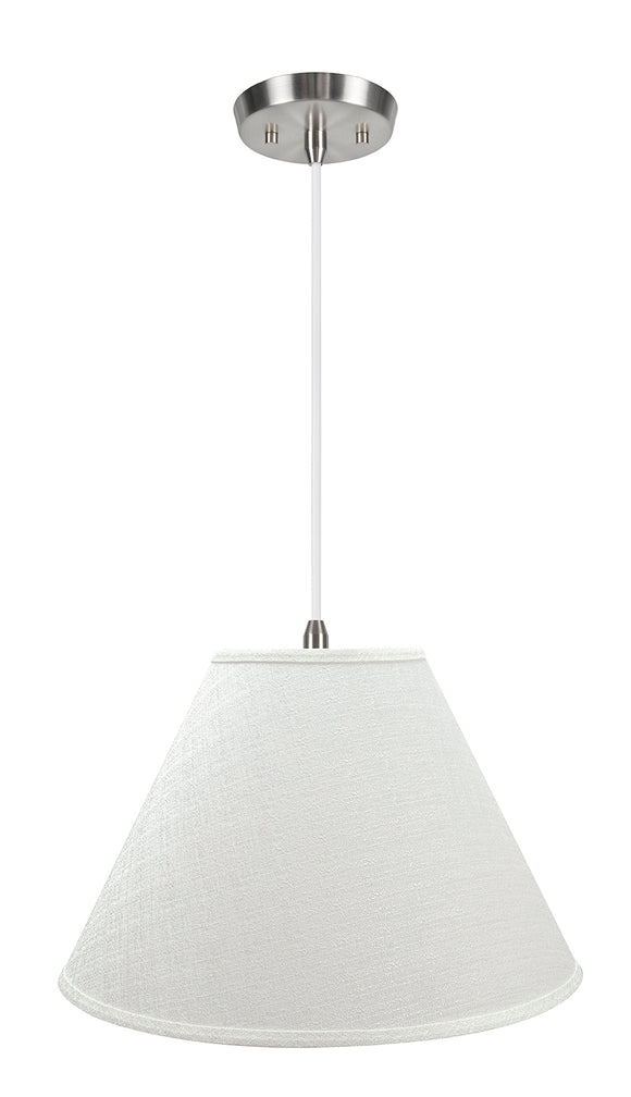 # 72773-11 Two-Light Hanging Pendant Ceiling Light with Transitional Hardback Empire Fabric Lamp Shade, Off White, 18