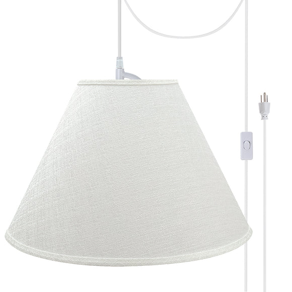# 72773-21 Two-Light Plug-In Swag Pendant Light Conversion Kit with Transitional Hardback Empire Fabric Lamp Shade, Off White, 18