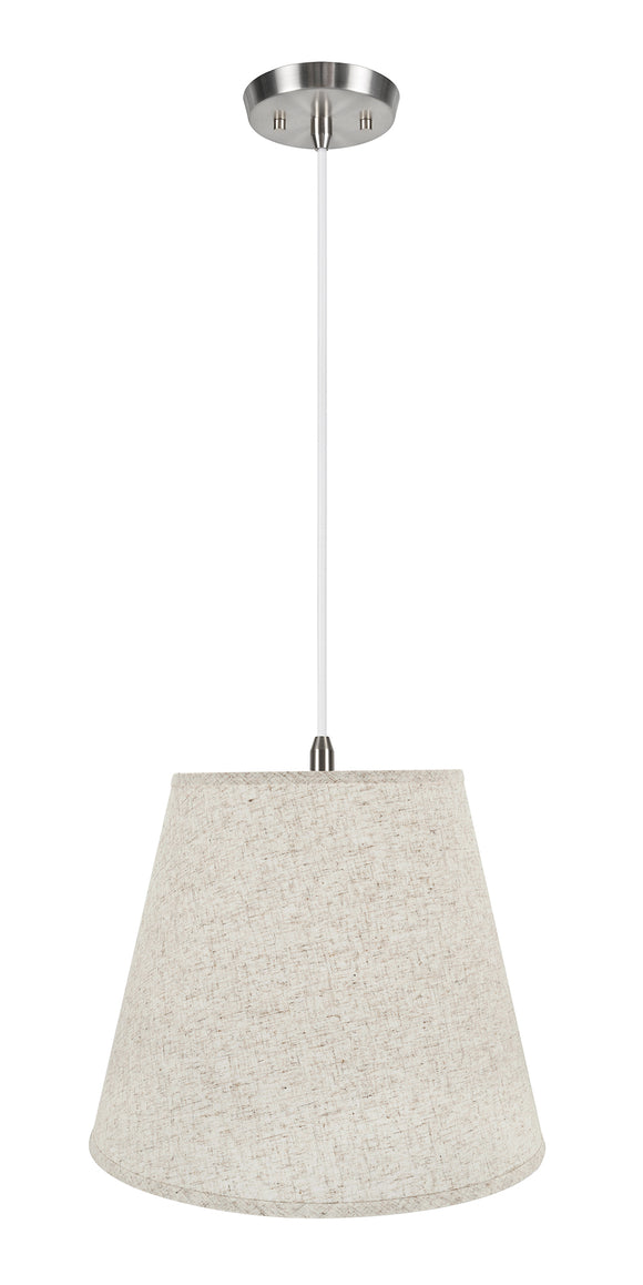 # 72801-11 Two-Light Hanging Pendant Ceiling Light with Transitional Hardback Empire Fabric Lamp Shade, Beige, 18