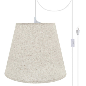 "# 72801-21 Two-Light Plug-In Swag Pendant Light Conversion Kit with Transitional Hardback Empire Fabric Lamp Shade, Beige, 18"" width"