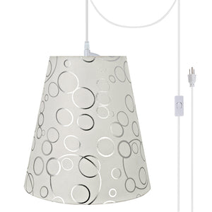 "# 72891-21 One-Light Plug-In Swag Pendant Light Conversion Kit with Transitional Hardback Empire Fabric Lamp Shade, White, 12"" width"