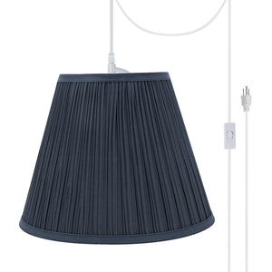 "# 73051-21 One-Light Plug-In Swag Pendant Light Conversion Kit with Transitional Pleated Empire Fabric Lamp Shade, Dark Blue, 13"" width"