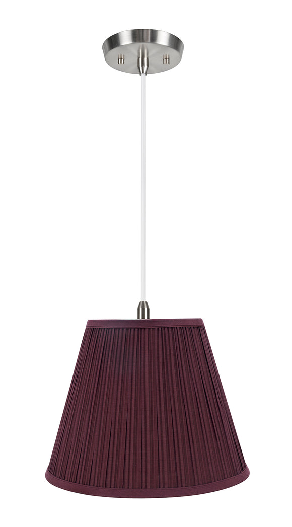 # 73052-11 One-Light Hanging Pendant Ceiling Light with Transitional Pleated Shade, Burgundy, 13