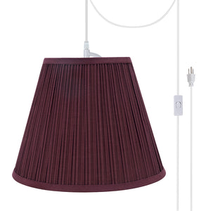 "# 73052-21 One-Light Plug-In Swag Pendant Light Conversion Kit with Transitional Pleated Empire Fabric Lamp Shade, Burgundy, 13"" width"