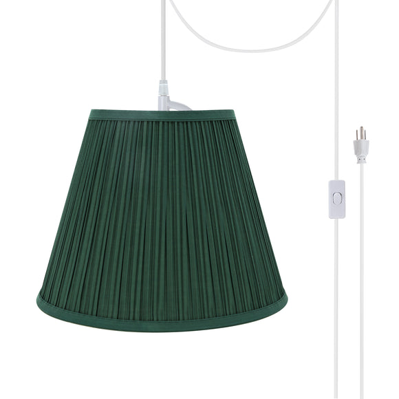 # 73053-21 One-Light Plug-In Swag Pendant Light Conversion Kit with Transitional Pleated Empire Fabric Lamp Shade, Green, 13