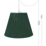 "# 73053-21 One-Light Plug-In Swag Pendant Light Conversion Kit with Transitional Pleated Empire Fabric Lamp Shade, Green, 13"" width"