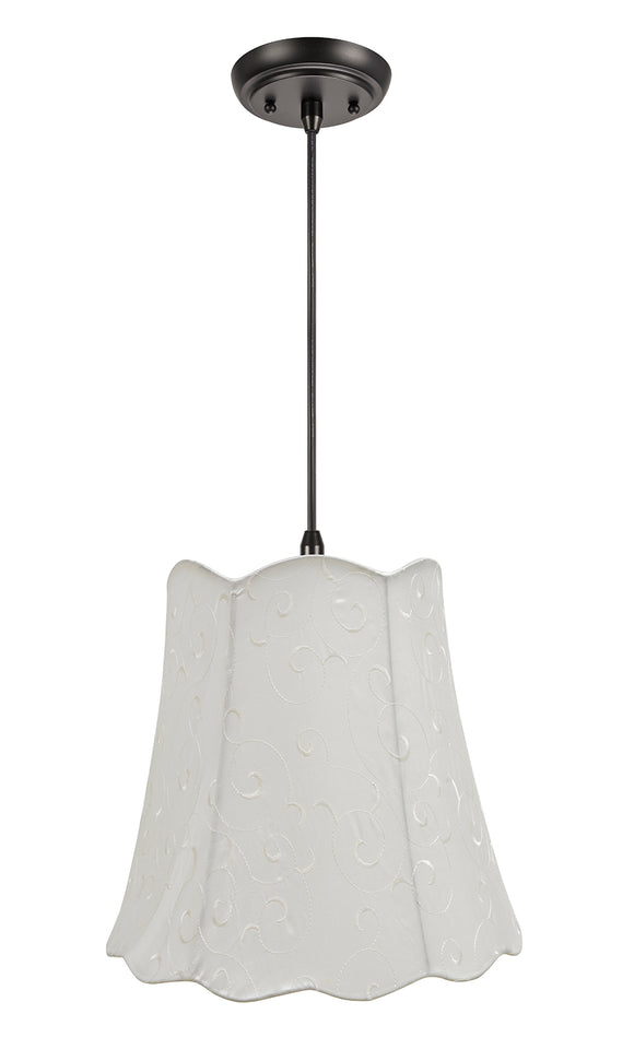 # 74061-11 Two-Light Hanging Pendant Ceiling Light with Transitional Scallop Bell Fabric Lamp Shade, Beige, 16