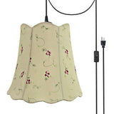 "# 74062-21 Two-Light Plug-In Swag Pendant Light Conversion Kit with Transitional Scallop Bell Fabric Lamp Shade, Apricot, 16"" width"