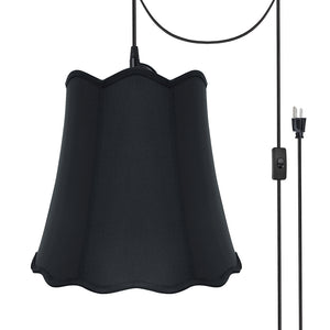 "# 74063-21 Two-Light Plug-In Swag Pendant Light Conversion Kit with Transitional Scallop Bell Fabric Lamp Shade, Black, 16"" width"