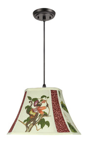"# 74100-11 One-Light Hanging Pendant Ceiling Light with Transitional Rectangle Cut Corner Bell Fabric Lamp Shade, Off White, 13"" width"