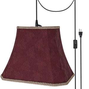 "# 74121-21 One-Light Plug-In Swag Pendant Light Conversion Kit with Transitional Rectangle Cut Corner Bell Fabric Lamp Shade, Red, 14"" width"