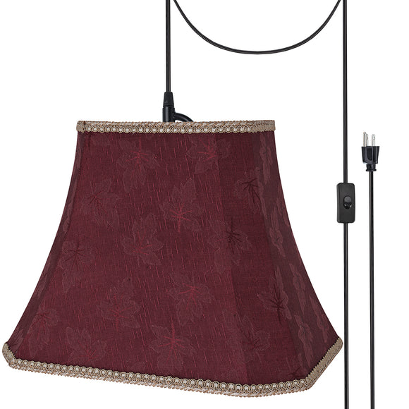 # 74121-21 One-Light Plug-In Swag Pendant Light Conversion Kit with Transitional Rectangle Cut Corner Bell Fabric Lamp Shade, Red, 14