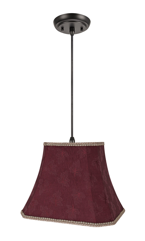 # 74121-11 One-Light Hanging Pendant Ceiling Light with Transitional Cut Corner Bell Fabric Lamp Shade, Red, 14