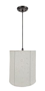 "# 75035-11 One-Light Hanging Pendant Ceiling Light with Transitional Empire Fabric Lamp Shade, Beige, 14"" width"
