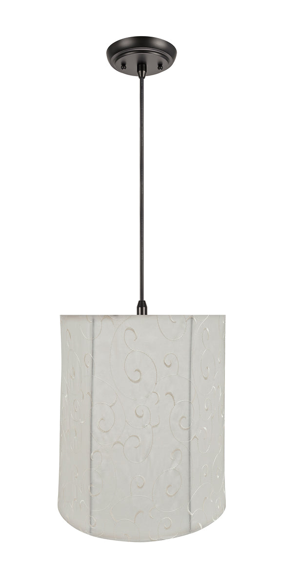 # 75035-11 One-Light Hanging Pendant Ceiling Light with Transitional Empire Fabric Lamp Shade, Beige, 14