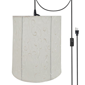 "# 75035-21 One-Light Plug-In Swag Pendant Light Conversion Kit with Transitional Empire Fabric Lamp Shade, Beige, 14"" width"