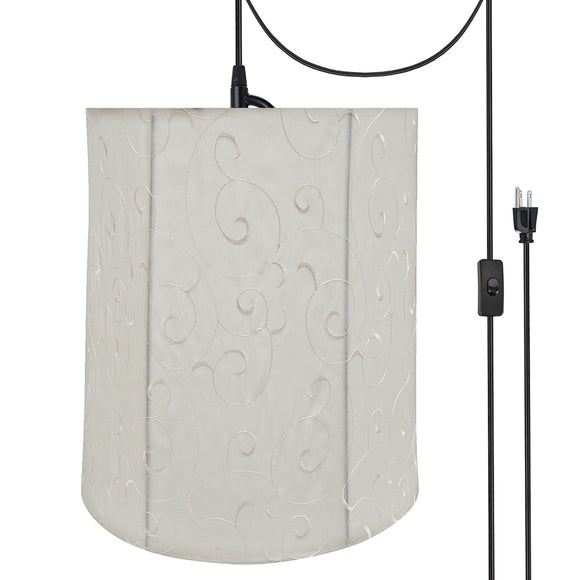 # 75035-21 One-Light Plug-In Swag Pendant Light Conversion Kit with Transitional Empire Fabric Lamp Shade, Beige, 14