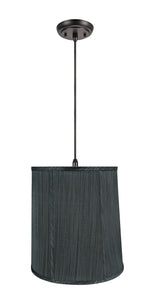 "# 75036-11 One-Light Hanging Pendant Ceiling Light with Transitional Empire Fabric Lamp Shade, Grey & Black, 14"" width"