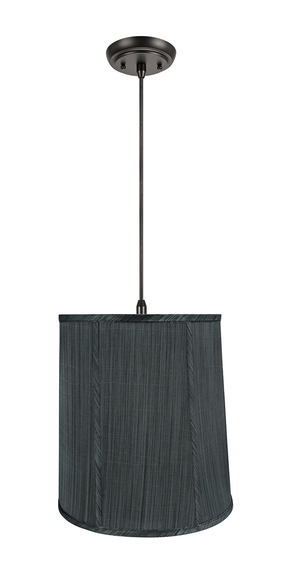 # 75036-11 One-Light Hanging Pendant Ceiling Light with Transitional Empire Fabric Lamp Shade, Grey & Black, 14