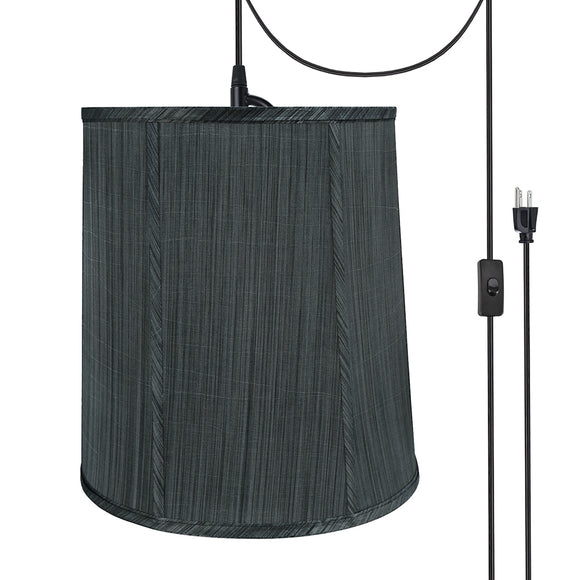 # 75036-21 One-Light Plug-In Swag Pendant Light Conversion Kit with Transitional Empire Fabric Lamp Shade, Grey & Black, 14