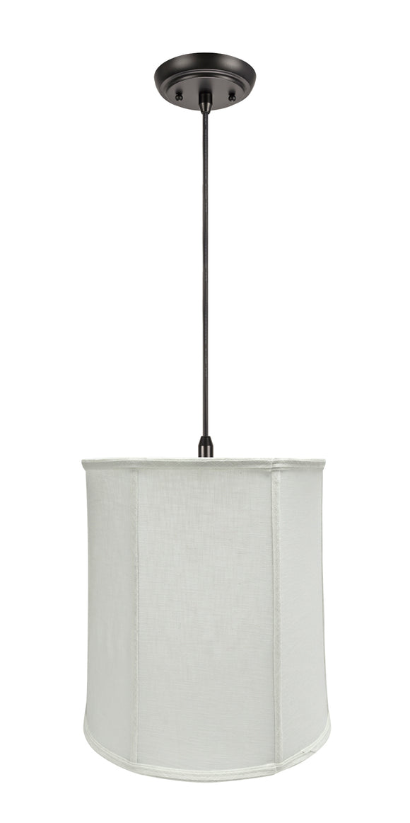 # 75037-11 One-Light Hanging Pendant Ceiling Light with Transitional Empire Fabric Lamp Shade, Off White, 14