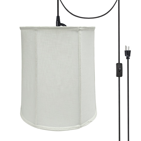 # 75037-21 One-Light Plug-In Swag Pendant Light Conversion Kit with Transitional Empire Fabric Lamp Shade, Off White, 14