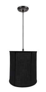 "# 75038-11 One-Light Hanging Pendant Ceiling Light with Transitional Empire Fabric Lamp Shade, Black, 14"" width"