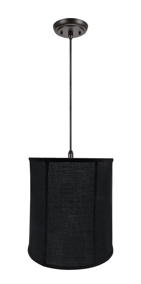 # 75038-11 One-Light Hanging Pendant Ceiling Light with Transitional Empire Fabric Lamp Shade, Black, 14