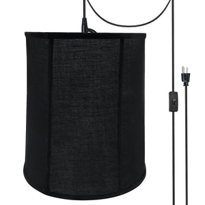 "# 75038-21 One-Light Plug-In Swag Pendant Light Conversion Kit with Transitional Empire Fabric Lamp Shade, Black, 14"" width"