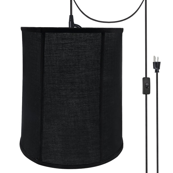 # 75038-21 One-Light Plug-In Swag Pendant Light Conversion Kit with Transitional Empire Fabric Lamp Shade, Black, 14