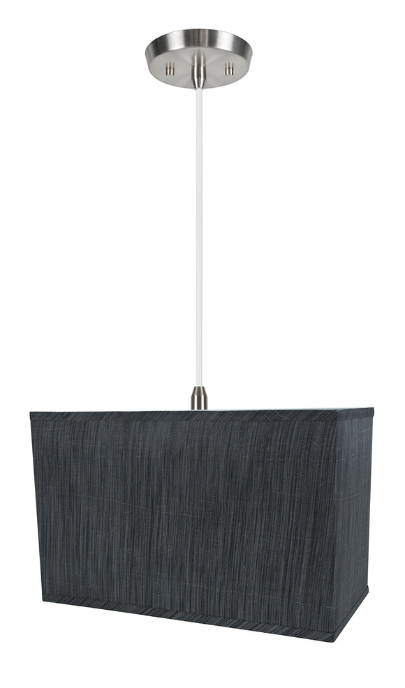 # 76003-11 One-Light Hanging Pendant Ceiling Light with Transitional Rectangular Hardback Fabric Lamp Shade, Grey & Black, 16