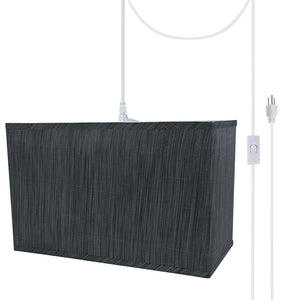 "# 76003-21 One-Light Plug-In Swag Pendant Light Conversion Kit with Transitional Hardback Rectangle Fabric Lamp Shade, Grey & Black, 16"" width"