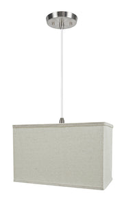 "# 76004-11 One-Light Hanging Pendant Ceiling Light with Transitional Rectangular Hardback Fabric Lamp Shade, Light Grey, 16"" width"