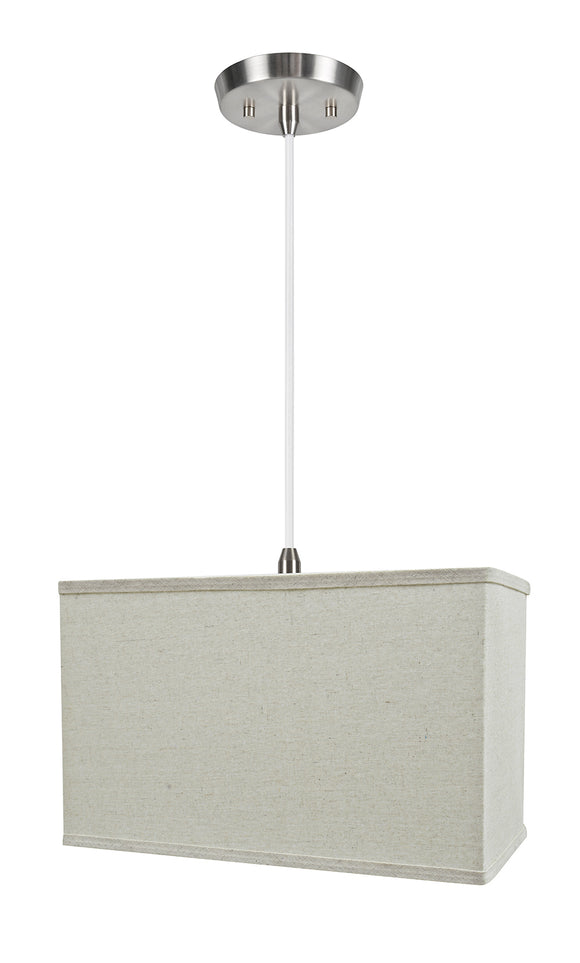 # 76004-11 One-Light Hanging Pendant Ceiling Light with Transitional Rectangular Hardback Fabric Lamp Shade, Light Grey, 16