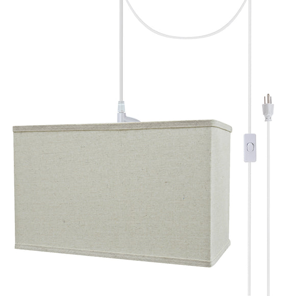 # 76004-21 One-Light Plug-In Swag Pendant Light Conversion Kit with Transitional Hardback Rectangle Fabric Lamp Shade, Light Grey, 16