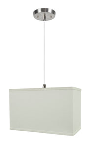 "# 76005-11 One-Light Hanging Pendant Ceiling Light with Transitional Rectangular Hardback Fabric Lamp Shade, White, 16"" width"