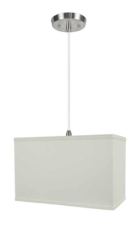 # 76005-11 One-Light Hanging Pendant Ceiling Light with Transitional Rectangular Hardback Fabric Lamp Shade, White, 16