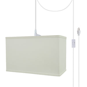 "# 76005-21 One-Light Plug-In Swag Pendant Light Conversion Kit with Transitional Hardback Rectangle Fabric Lamp Shade, White, 16"" width"