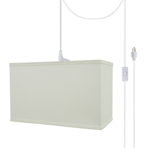 # 76005-21 One-Light Plug-In Swag Pendant Light Conversion Kit with Transitional Hardback Rectangle Fabric Lamp Shade, White, 16