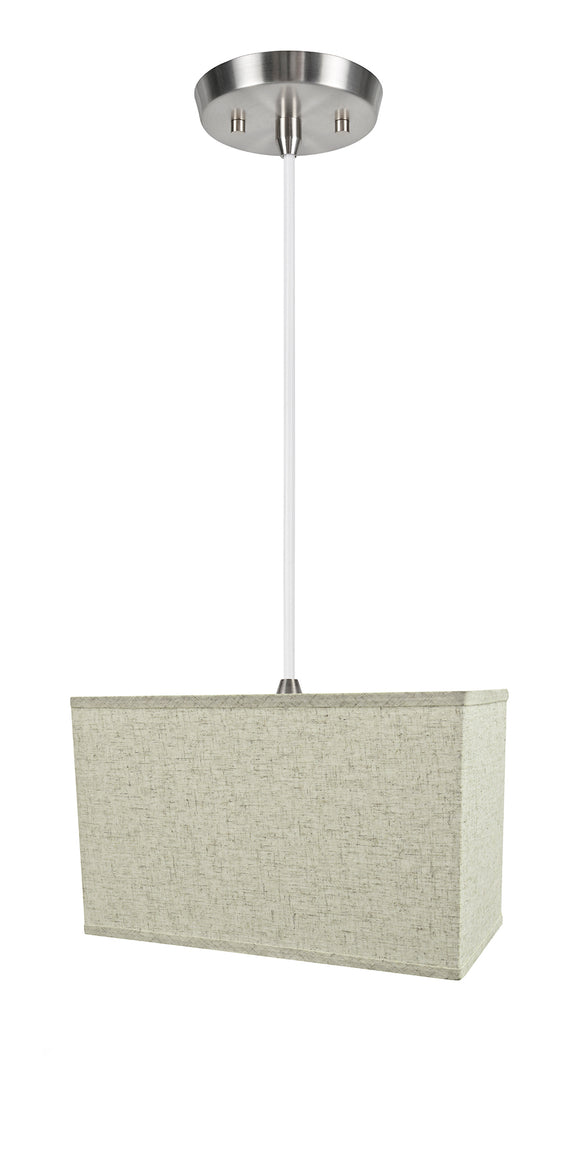 # 76006-11 One-Light Hanging Pendant Ceiling Light with Transitional Rectangular Hardback Fabric Lamp Shade, Beige, 16