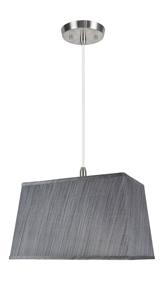 # 76022-11 One-Light Hanging Pendant Ceiling Light with Transitional Rectangular Hardback Fabric Lamp Shade, Grey & Black, 16