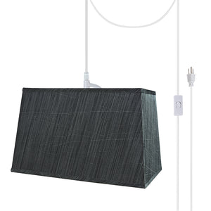 "# 76022-21 One-Light Plug-In Swag Pendant Light Conversion Kit with Transitional Hardback Rectangle Fabric Lamp Shade, Grey & Black, 16"" width"