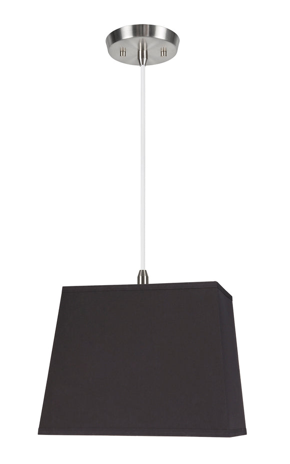 # 76041-11 One-Light Hanging Pendant Ceiling Light with Transitional Rectangular Hardback Fabric Lamp Shade, Black, 12