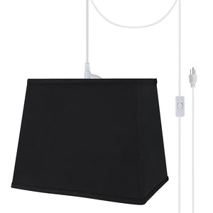 "# 76041-21 One-Light Plug-In Swag Pendant Light Conversion Kit with Transitional Hardback Rectangle Fabric Lamp Shade, Black, 12"" width"