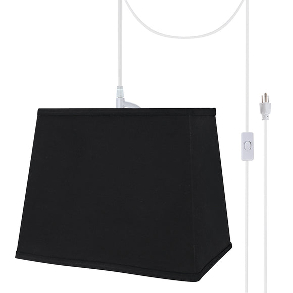 # 76041-21 One-Light Plug-In Swag Pendant Light Conversion Kit with Transitional Hardback Rectangle Fabric Lamp Shade, Black, 12