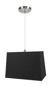 "# 76061-11 One-Light Hanging Pendant Ceiling Light with Transitional Rectangular Hardback Fabric Lamp Shade, Black, 16"" width"