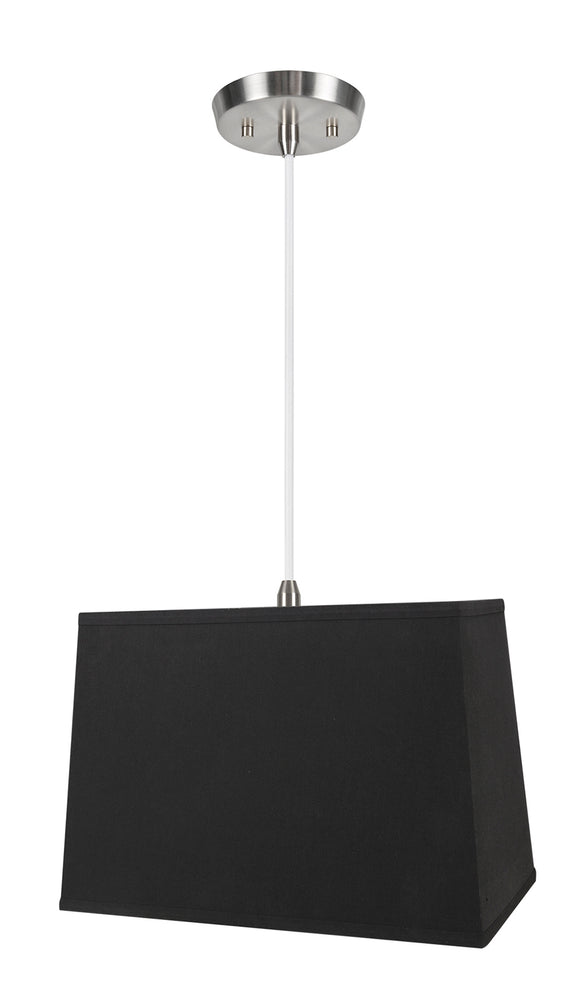 # 76061-11 One-Light Hanging Pendant Ceiling Light with Transitional Rectangular Hardback Fabric Lamp Shade, Black, 16