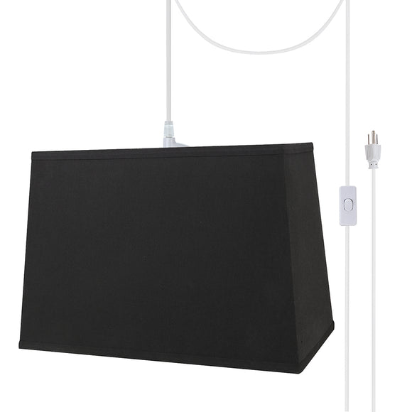 # 76061-21 One-Light Plug-In Swag Pendant Light Conversion Kit with Transitional Hardback Rectangle Fabric Lamp Shade, Black, 16