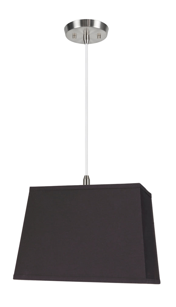 # 76081-11 One-Light Hanging Pendant Ceiling Light with Transitional Rectangular Hardback Fabric Lamp Shade, Black, 14